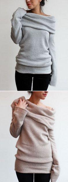 Heathered Turtleneck Off-the-Shoulder Knit Sweater - OASAP.com