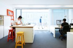co working spaces, large desk, you can work either side of. SquadInk | Design Studio 210