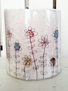 Flower freehand machine embroidery lampshades ...from Picpacnaddywak