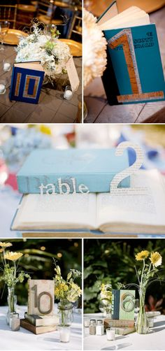 vintage book table numbers..really love this idea