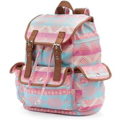 Candie's Anna Aztec Cargo Backpack (Pink) featuring polyvore, fashion, bags, backpacks, pink, pink bag, cargo backpack, rucksack bag, drawstring backpack and top handle bag
