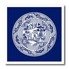 """3dRose Willow Pattern In Delft Blue and White-Iron on Heat Transfer, 10 by 10"""", for White Material (ht_220439_3)"""