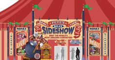 Pete's Silly Sideshow concept art for the new character meet and greet spot in Storybook Circus in the new Fantasyland section of the Magic Kingdom at Walt Disney World. Click the image to view a larger version, and additional concept art.