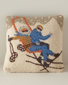 Retro Skiers Hooked Wool Pillow Cover