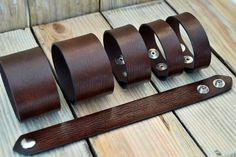 1.5, 1, 3/4 inch Wholesale Leather Cuff Blank Brown Handmade Distressed Make Your Own Plain leather Bracelet(6)
