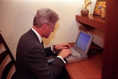 Bill Clinton sending his first (ever!) email to John Glenn while he was in space with NASA (via Bill Clinton twitter)