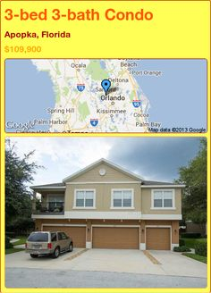 3-bed 3-bath Condo in Apopka, Florida ►$109,900 #PropertyForSale #RealEstate #Florida http://florida-magic.com/properties/16071-condo-for-sale-in-apopka-florida-with-3-bedroom-3-bathroom