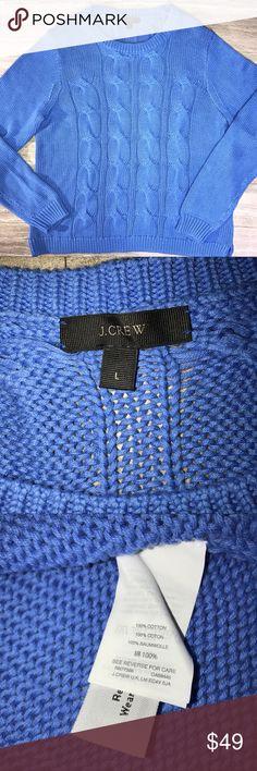 J. Crew Periwinkle Blue Cable Knit Crew Neck J. Crew periwinkle/light blue crew neck sweater. Cable knit design. Excellent condition. J. Crew Sweaters Crew & Scoop Necks