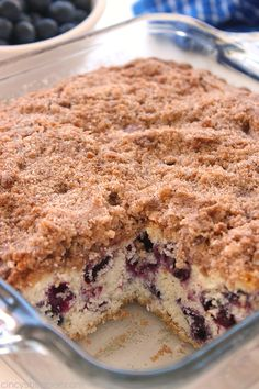 Blueberry Buckle - Plump blueberries meet up with a coffee muffin type cake then topped with a cinnamon and butter streusel.