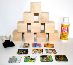 Lion King, 101 Dalmatains, Dumbo, Peter Pan - Children's Wooden Book Blocks - Baby Shower Craft - Disney Theme  - DIY Craft Kit 85 Pieces on Etsy, $29.95