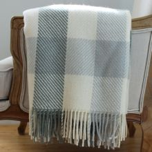 Blue/Cream Check Lamb's Wool Throw  - Lily and Moor
