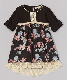 Another great find on #zulily! Black Dahlia Floral Field Dress - Girls #zulilyfinds