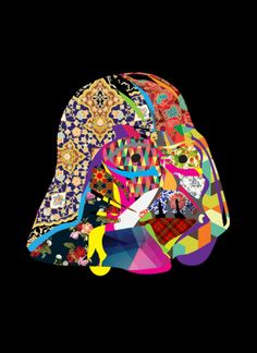 A play with texture and pattern slapped on the  iconic Darth Vader helmet. It looks like a fashion designer / star wars mood board.   Limited posters produced for the Middle East FIlm and Comic Convention in Dubai, 2014.