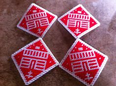 Plastic Canvas House Diamond Coasters    149 by ritascraftsandmore on Etsy