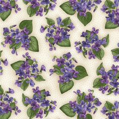 Natural Violet Plants Arabella Debbie Beaves Floral Quilt Fabric by the 1/2 yd  #MaywoodStudios