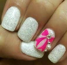 White glitter pink bow nails