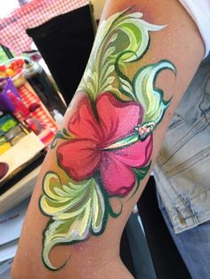 Pretty leaves Face Painting Flowers, Girl Face Painting, Leg Painting, Belly Painting, Painting Tattoo, Face Painting Tutorials, Face Painting Designs, Skin Paint, Body Paint