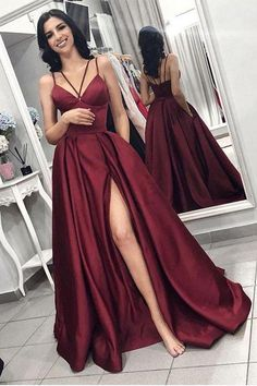 Maroon Spaghetti Straps Side Slit Long A Line Elegant Evening Prom Dresses OKI58 – Okdresses #burgundypromdress #simplepromdresses #alinepromdresses