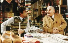 Banter: Ronnie Barker played the tight-fisted, lecherous, lovable shopkeeper Arkwright with David Jason as his long-suffering nephew and assistant. British Humor, British Comedy, Johnny Vegas, Ronnie Barker, Open All Hours, David Jason, Are You Being Served, Comedy Actors, Classic Comedies