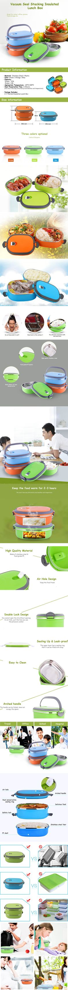 Vacuum Seal Stacking Insulated Lunch Box Stainless Steel Thermal Insulation Bento Box Dual Handle Container Cheap - NewChic Mobile.
