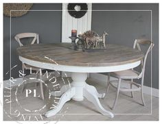 Like the colors Refurbished Furniture, Painted Furniture, Diy Furniture, Round Dinning Table, Rustic Cottage, Home Living Room, Accent Decor, Sweet Home, House Design