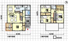 住みやすい家の間取り ウッドデッキ付 南玄関 4LDK 35坪の間取り例