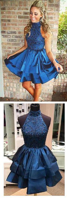 chic modern sleeveless a-line/princess beaded halter neckline satin short homecoming dress