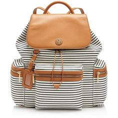 Tory Burch Viva Backpack ($395) ❤ liked on Polyvore featuring bags, backpacks, tory navy stripe, light weight backpack, navy striped backpack, leather drawstring backpack, foldable backpack and day pack backpack