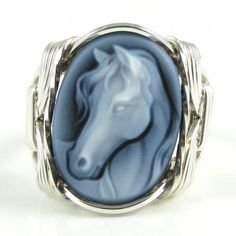 Fine Horse Cameo Ring Agate Sterling Silver Jewelry