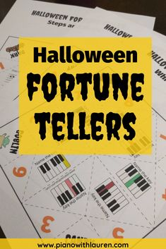 Students love to play with Halloween fortune tellers! Fortune tellers are a simple and fun Halloween music activity for kids.  Review piano white key names, steps/skips on the staff, and accidentals with students in this fun, simple music game for kids.  Keep music games with kids simple!   #teachpiano #pianowithlauren #pianoteacher #musicgame Piano Lessons, Music Lessons, Music Activities For Kids, Music Wall, Piano Music, Piano Games, Piano Classes, Halloween Music, School Of Rock