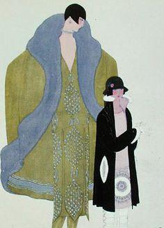 """""""La Visite"""", robe et manteau dessinés par Jeanne Lanvin (1867-1946) pour la Gazette du Bon Ton, 1925, dessin de Georges Lepape (1887-1971), Bibliothèque des Arts Décoratifs, Paris"""