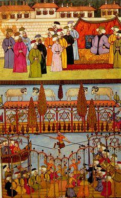 İp cambazı, minyatür. by Nakkaş Osman, Surname-i Humayun (ramfight, tightrope walker)