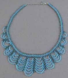 Baby Blue and Aqua Swag Necklace by Luckysammy on Etsy