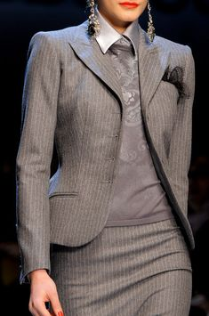 Roccobarocco Fall 2013. Gray pinstripe skirt suit