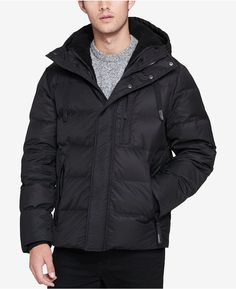 Andrew Marc Men's Groton Quilted Hooded Puffer Coat with Removable Faux-Shearling Bib