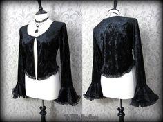 Gothic Black Crushed Velvet Lacey Drape Sleeve Romantic Bolero Over Top 12 14 | THE WILTED ROSE GARDEN