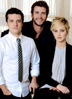 Josh Hutcherson as Peeta Mellark, Liam Hemsworth as Gale Hawthorne and Jennifer Lawrence as Katniss Everdeen in The Hunger Game's: Catching Fire. 11-8-13(?)