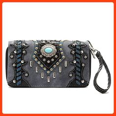 Western Wallet - Turquoise Round Stone Concho with Studded Bars Wallet (*Partner Link)