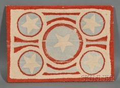 Wool Hooked Rug With Stars, America, 20th Century,...~♥~