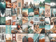 Aesthetic Room Decor, Aesthetic Collage, Boho Aesthetic, Aesthetic Coffee, Watercolor Desktop Wallpaper, Iphone Wallpaper, Travel Collage, Bedroom Wall Collage, Painting Collage