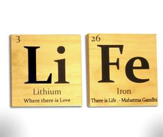 Periodic table of elements Life wooden tile wall art- with Gandhi quote. $20.00, via Etsy.