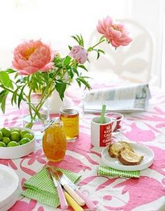 pink and green breakfast table