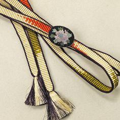 Obijime with obidome /【帯締め】アイボリー多色柄手組み刺繍の帯留付き