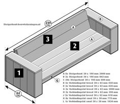 Tutorial for homemade garden furniture step assembly of the backrests for a wooden bench and lounge chairs homemade of recycled scaffolding planks. Homemade Furniture, Outdoor Garden Furniture, Lounge Furniture, Pallet Furniture, Lounge Sofa, Garden Sofa, Garden Seating, Scaffolding Wood, Diy Patio
