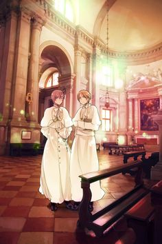 Hetalia Axis Powers-North and South Italy! Their old clerical attire is cute~!