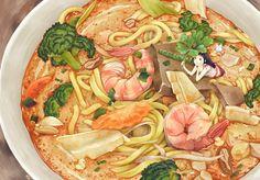 美食 食物 面 手绘 插画