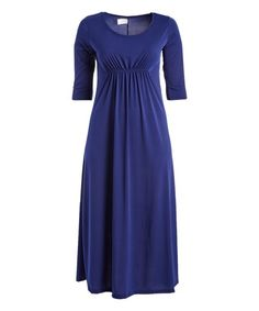 Navy Front-Ruched Maxi Dress - Plus | zulily