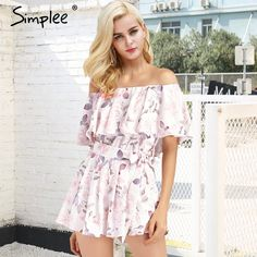 cea36199058 Simplee Sexy floral print off shoulder romper playsuit women Ruffle sleeve  sash overalls Casual summer beach playsuits femme
