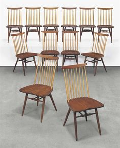 GEORGE NAKASHIMA (1905-1990) A SET OF TWELVE 'NEW' CHAIRS, CIRCA 1963-present produced by Sakura, Tokyo, Japan, walnut, hickory each 36 in. (91.5 cm.) high each chair with branded signature Nakashima