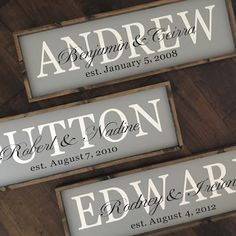 Personalized First Names and Established Date
